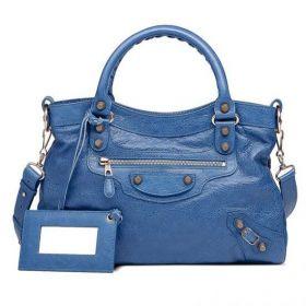 Balencia Fashion Rose Gold Studs Giant Town Front Zipper Pocket Ladies Bleu Cobalt Agneau Tote Bag
