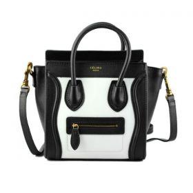 Fashion Trends Celine Luggage Golden Hardware White Leather Detail Womens Top-handles Shoulder Bag Black Small