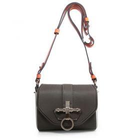 Fashion Givenchy Obsedia Logo Turn-lock Adjustable Orange Shoulder Strap Womens Small Dark Grey Handbag Original Calfskin