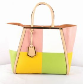 Fendi 2Jours Pink Ferrari Leather Colorful Block Bag Spring New Fashion Online Shopping Australia