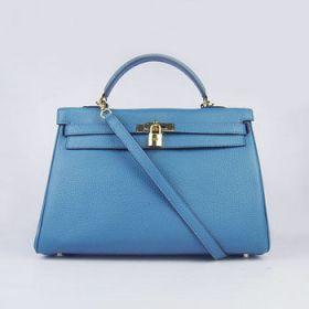Hermes Kelly 35cm Blue Togo Leather Handbag Gold-plated Padlock With Shoulder Strap Travel Price LA