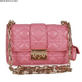 Christian Dior Clone Miss Dior Pink Lambskin-Quality Cannage-pattern Leather Shoulder Fold-Flap Bag Golden-Strap Style