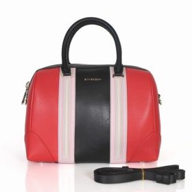 High End Givenchy Lucrezia Pink Trim Band Polished Gold Logo Ladies Red-Black Leather Tote Bag Replica