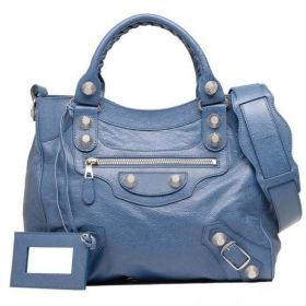 Balenciaga Giant 21 Velo Female Atlantique Lambskin Top Zipper Closure Oversized Silver Studs Tote Bag