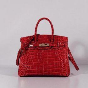 Hermes Birkin Red Crocodile Leather Bag 30cm Thin Shouler Strap Golden Buckle Formal Party