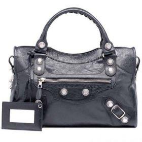 Hot Selling Balenciaga Silver Studs Womens Giant 21 City Black Lambskin Top-handle Shoulder Bag Online