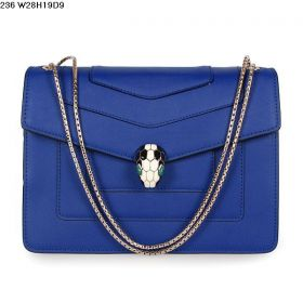 Bvlgari Womens Popular Blue Leather Golden Chain Enamelled Serpenti Head GM Shoulder Bag 281241