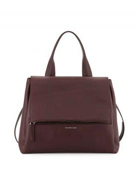 Vintage Givenchy Pandora Pure Folded Top Handle Zipper Detail Ladies Medium Leather Flap Bag Oxblood