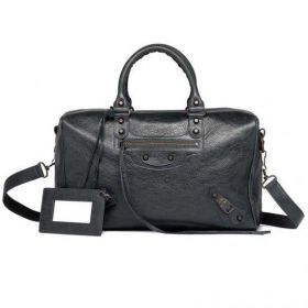 Chic Balenciaga Classic Polly Old Brass Zipper Pocket Rounded Handles Ladies Lambskin Fake Studded Totes Anthracite