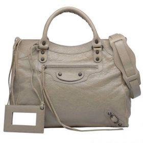 Womens Classic Balenciaga Velo Latte Lambskin Leather Tassel Trimming Front Zipper Pocket Ladies Tote Bag