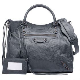 New Arrival Balenciaga Female Classic Velo Buckle & Belt Trimming Brass Studs Anthracite Tassels Shoulder Bag