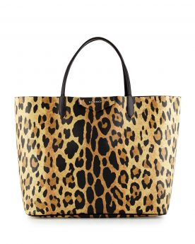 Womens Sexy Givenchy Antigona Silver Logo Detail Leopard Print Large Leather Tote Bag For Shopper