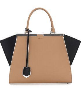 Fendi Trois-Jour Petite Tan/Black Bicolor Tote Bag Double Handle 2018 Street Style Shopping
