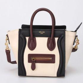 Celine Nano Luggage Zipper Front Pocket Winding Leather Trimming Black/White/Wine Leather Patchwork Handbag Replica