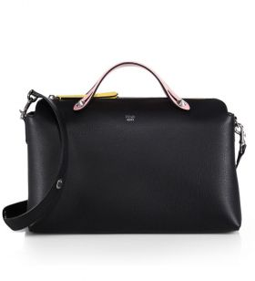Fendi By The Way Black Leather Large Pink Handle Satchel Bag Modern Style Singapore
