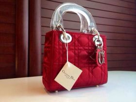 AAA Dior Lady Dior Red Cannage-Design Mini Size Tote Bag Transparent Handles 2018 Street Fashion