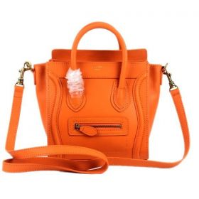 2018 Latest Celine Luggage Top-handles Polished Brass Hardware Female Small Orange Smooth Leather Tote Bag Replica