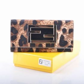 Hot Sale Fendi Long Coffee Plum Blossom Motif Horsehair Leather Wallet Celebrity Style