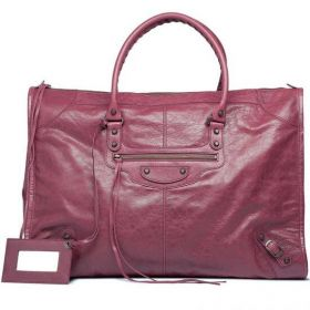 High Quality Balenciaga Female Cassis Weekender Hand Stitched Handles Vintage Brass Hardware Classic Leather Handbag Replica