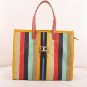 Fendi Pequin Red Leather Narrow Handle Multicolor Fabric Dating Shopping Tote Bag Girl America