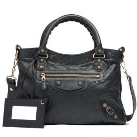 Winter High-end Lambskin Balenciaga Female Black Giant 12 Rose Gold Studs Square Town Totes With Hand Mirror