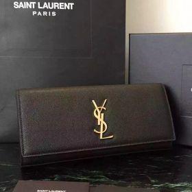 Saint Laurent Kate Womens Black Grainy Leather Brass Monogramme Buckle Flap Clutch  Price List 326079BOW0J1000