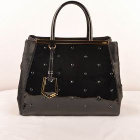 Fendi 2jours Black Medium Bag Patent Leather With Horsehair Leather Luxurious Button Fastening Australia