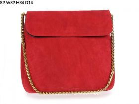Spring Medium Celine Gourmette Brass Chain Shoulder Strap Black Leather Lining Ladies Red Suede Leather Flap Bag