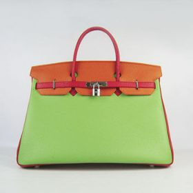 Hermes Birkin Green/Orange Cowhide Leather Handbag Red Handle Silver Buckle 35cm Birthday Gift For Girlfriend