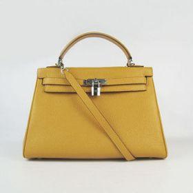 Hermes Kelly 32cm Yellow Togo Leather Silver Lock Handbag With Strap Fashion Design Australia Sale