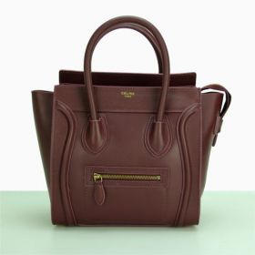 Low Price Celine Large Luggage Yellow Brass Hardware Top Handles Ladies Wine Leather Tote Bag 30CM