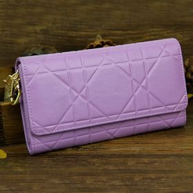 Lady Dior Lavender Leather Classy Cannage-pattern Fold-flap Wallet UK Street Fashion Hot Sale