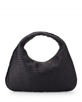Bottega Veneta Womens Large Curved Base Hand Mirror Design Navy Intrecciato Lambskin Leather Handbag Replica 367639V00164066