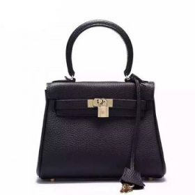 Hermes Kelly Top Handle Black Togo Leather 25cm Bag Gold-plated Buckle Leather Trim Sale America