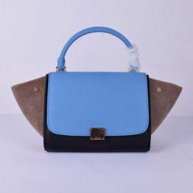 Best Sale Celine Female Medium Trapeze Suede Gussets Motif Ladies Leather Tote Bag Blue/Black/Khaki