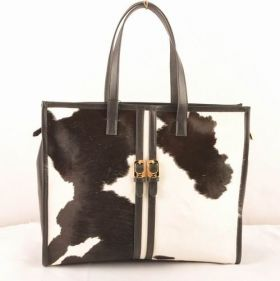 Fendi Pequin White Ferrari Leather Black Cowhair Leather Art Style Women Tote Bag Birthday Gift