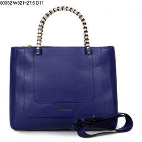 Bvlgari Enamel-Golden Top Handles Ladies High End Purple Calfskin Leather Serpenti Handbag Replica
