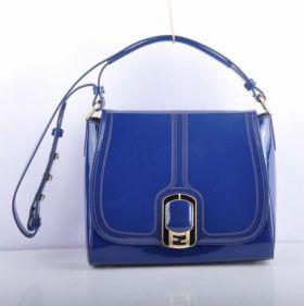 Knockoff Fendi Chameleon Blue Patent Leather Messenger Bag Street Style Sale Paris Women