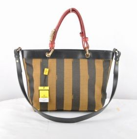 Fendi Pequin Fabric With Black Calf Leather Tote Bag Red Double Handle Online shop Dubai