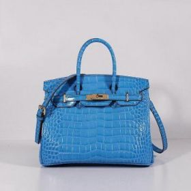 Hermes Birkin Blue Crocodile Leather Bag 30cm With Shoulder Strap Golden Lock NYC Online Store