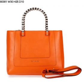 Bvlgari Serpenti Enamel-Golden Top Handles Womens Ferrari Leather Tote Bag Orange With Zipper Interior Pocket