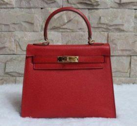 Hermes 28cm Kelly Red Epsom Leather Handbag Golden Lock Buckle Clone Modern Style Women
