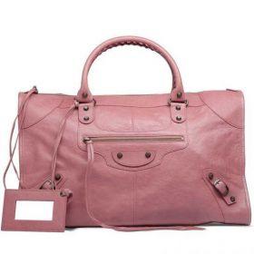 Women's Fashion Balenciaga Classic Work Top Zipper Closure Brass Buckle Trimming Rose Bruyere Shoulder Bag