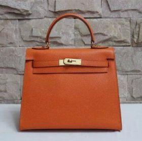 Hermes Kelly 28cm Orange Epsom Leather Handbag Golden Buckle Bold Style Stylish Girl Price Malaysia