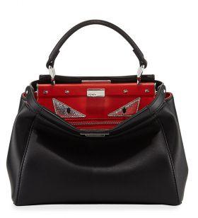 Top Sale Fendi Peekaboo Black Monster Eyes Red Lining Mini Satchel Bag Price In Autralia