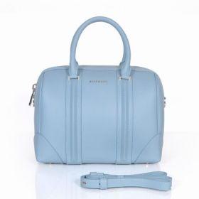 2018 Fashion Givenchy Lucrezia Curved Edges Light Gold Hardware Light Blue Leather Top Handles Boston Bag