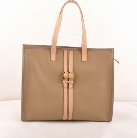 Fendi Pequin Grey Ferrari Leather Shopping Tote Bag Apricot Handle 2018 Newest Women