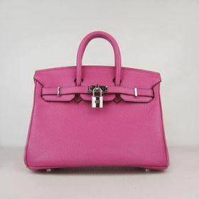 Hermes Birkin Peach Leather Small Silver Lock 25cm Handbag Shopping/Dating Tide Girl Bella Hadid Sale