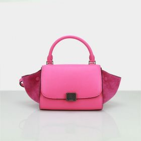 New Arrival Celine Small Trapeze Silver Hardware Zipper Closure Ladies Neon Pink Suede Leather Flap Tote