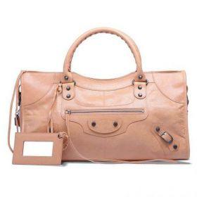 Classic Balenciaga Female Part Time Buckle Trimming Front Zipper Pocket Ladies Studded Handbag Rose Blush